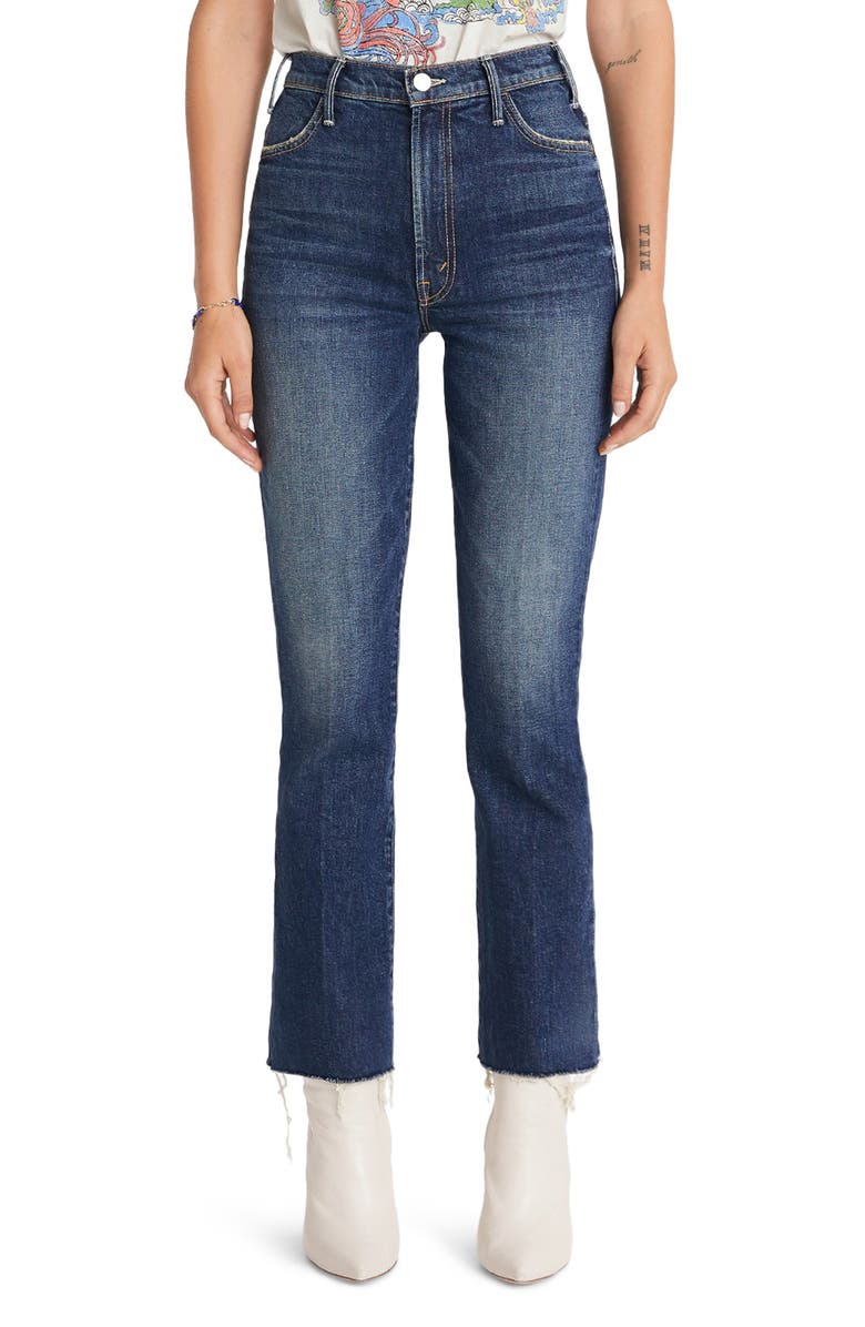 MOTHER The Hustler High Waist Fray Ankle Flare Jeans, Main, color, 401