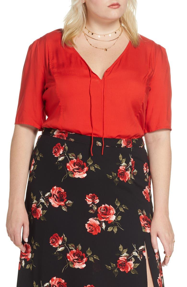 BP. x Claudia Sulewski Tie Neck Top, Main, color, RED POLISH