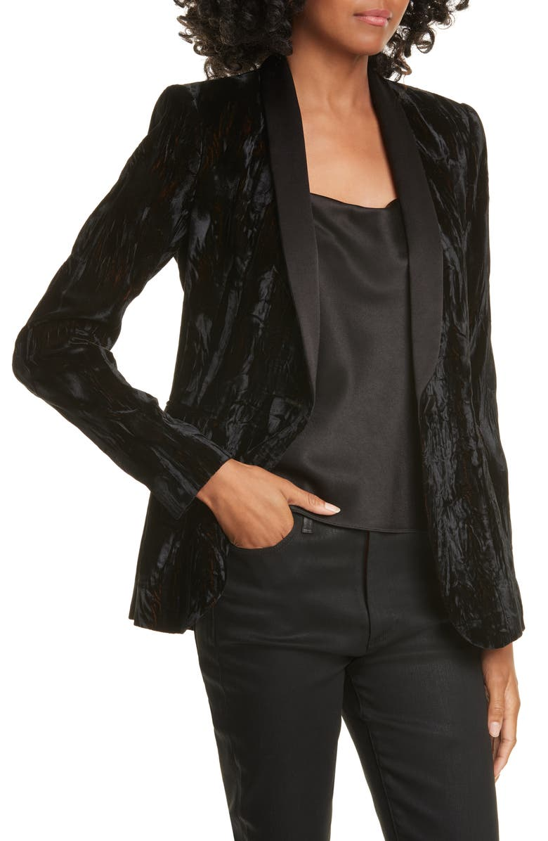 ALICE + OLIVIA Macey Crushed Velvet Blazer, Main, color, BLACK