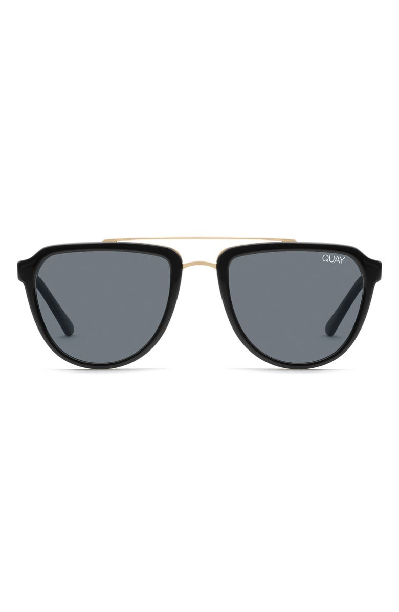 QUAY AUSTRALIA Mystic 55mm Aviator Sunglasses, Main, color, BLACK/ SMOKE