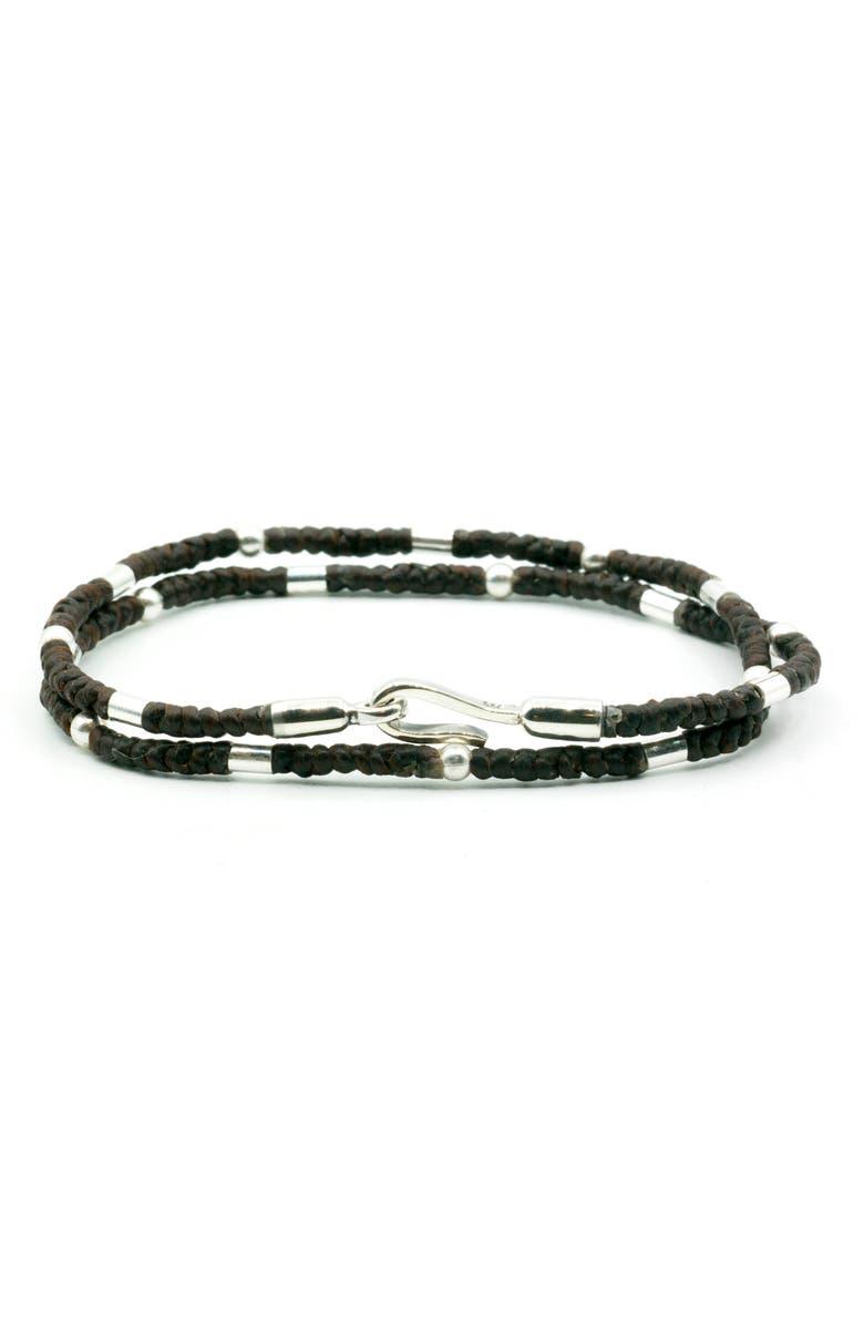 CAPUTO & CO. Cord Wrap Bracelet, Main, color, DARK BROWN