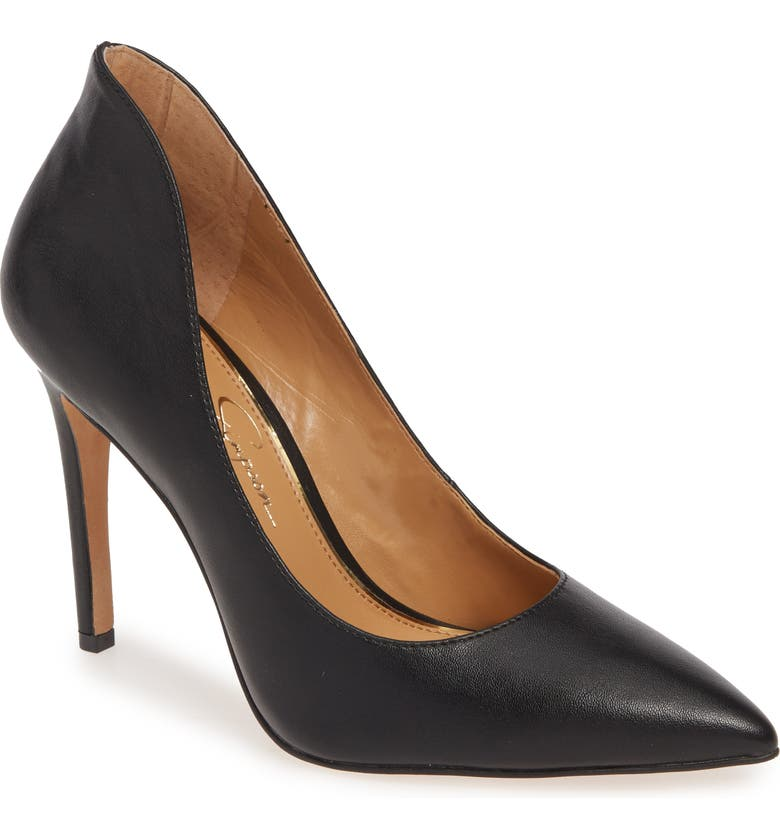 JESSICA SIMPSON Parthenia Pointy Toe Pump, Main, color, BLACK FAUX LEATHER