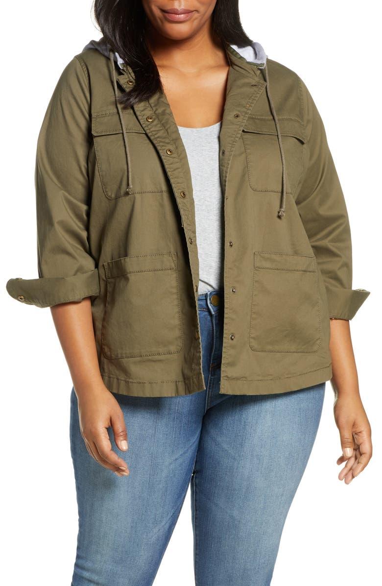 CASLON<SUP>®</SUP> Knit Hood Utility Jacket, Main, color, OLIVE GREY LIGHT HEATHER
