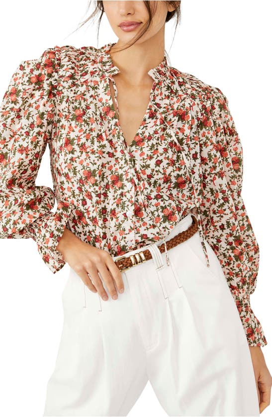 Free People Meant To Be Floral Print Smocked Top In Vintage Combo