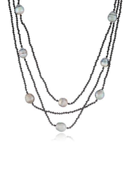 Image of Splendid Pearls Spinnel & 8-10mm Tahitian Pearl Triple Row Necklace