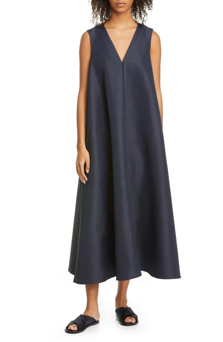 CO Sleeveless Nylon & Cotton Swing Dress, Main, color, NAVY