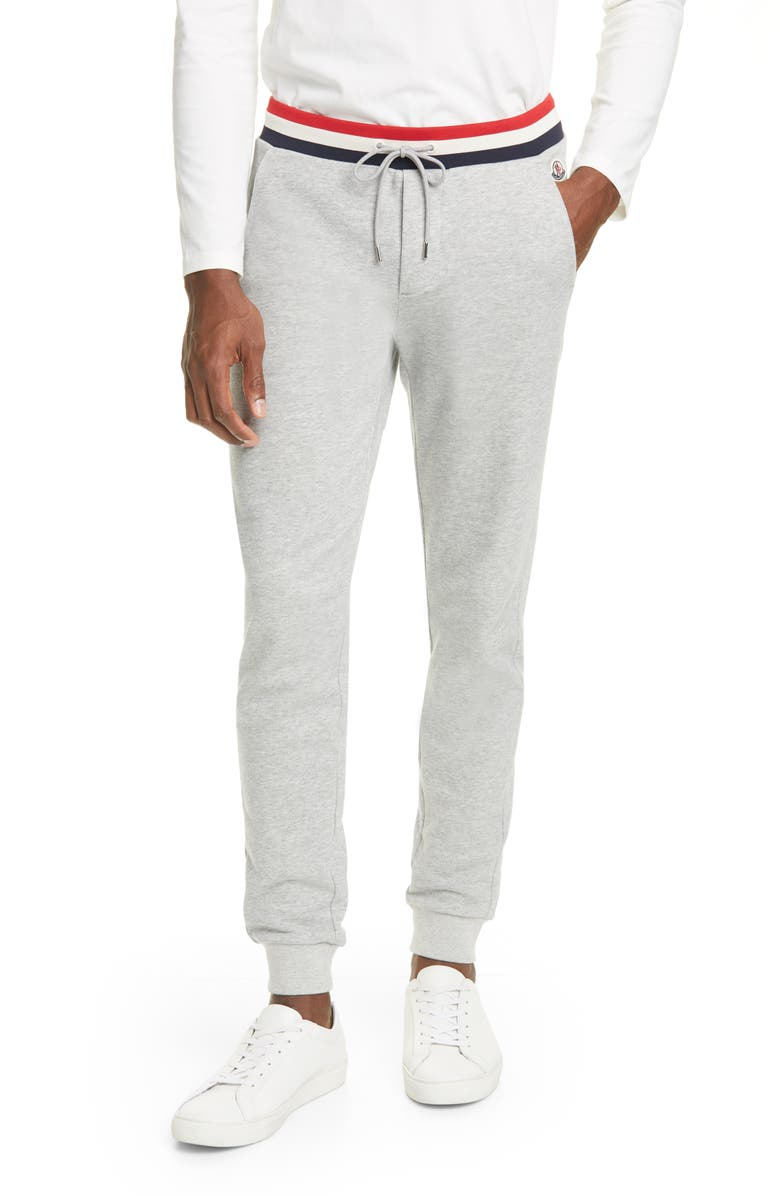 MONCLER Stripe Jogger Pants, Main, color, DARK GREY
