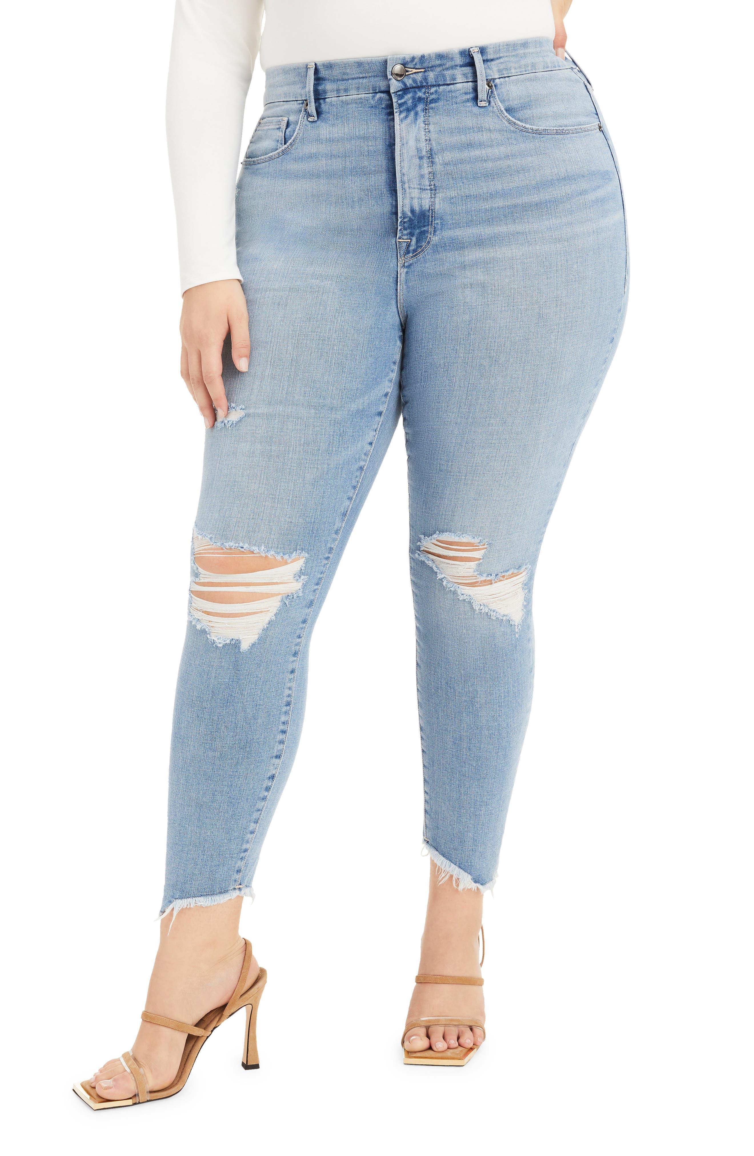 Plus Women's Good American Good Legs High Waist Side Step Crop Skinny Jeans