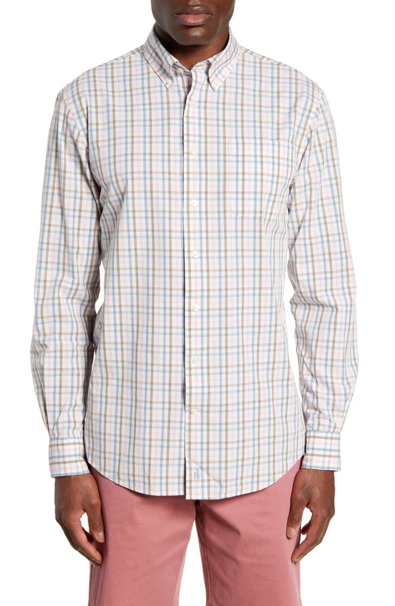 JOHNNIE-O Neville Classic Fit Check Button-Down Shirt, Main, color, ISLAND