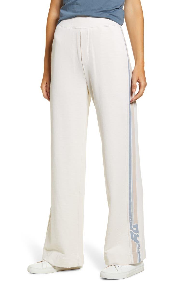 AG Swetta Logo Stripe Cotton Flare Pants, Main, color, PIXEL IVORY DUST/ PASTEL
