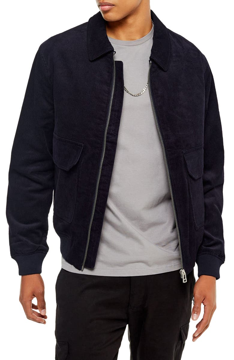 TOPMAN Harrington Slim Fit Zip-Up Corduroy Jacket, Main, color, MID BLUE