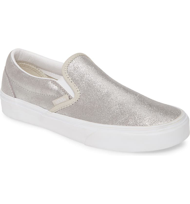 VANS Glitter Slip-On Sneaker, Main, color, SILVER/ SILVER