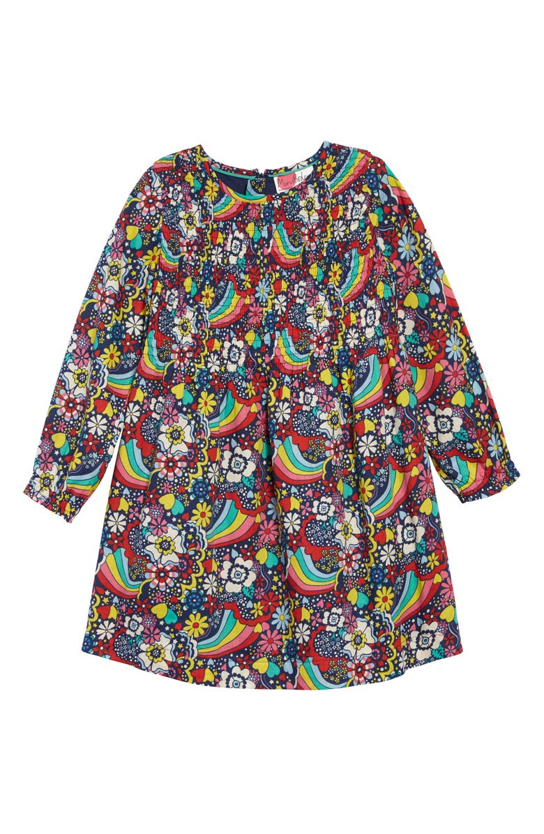 MINI BODEN Long Sleeve Smocked Dress, Main, color, MUL MULTI SIXTIES RAINBOW
