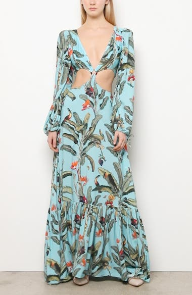 Tropical Long Sleeve Cutout Gown, video thumbnail