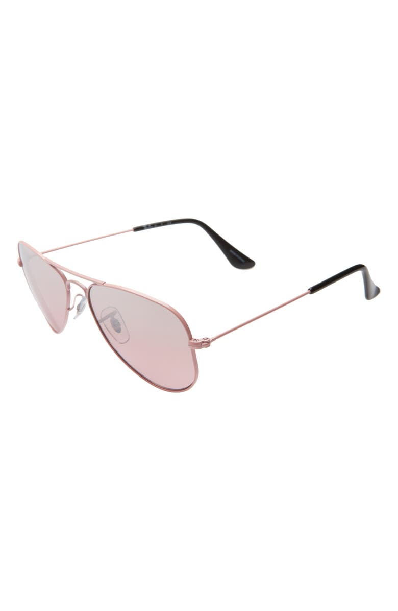 RAY-BAN Junior 52mm Aviator Sunglasses, Main, color, PINK/ PINK GRADIENT MIRROR
