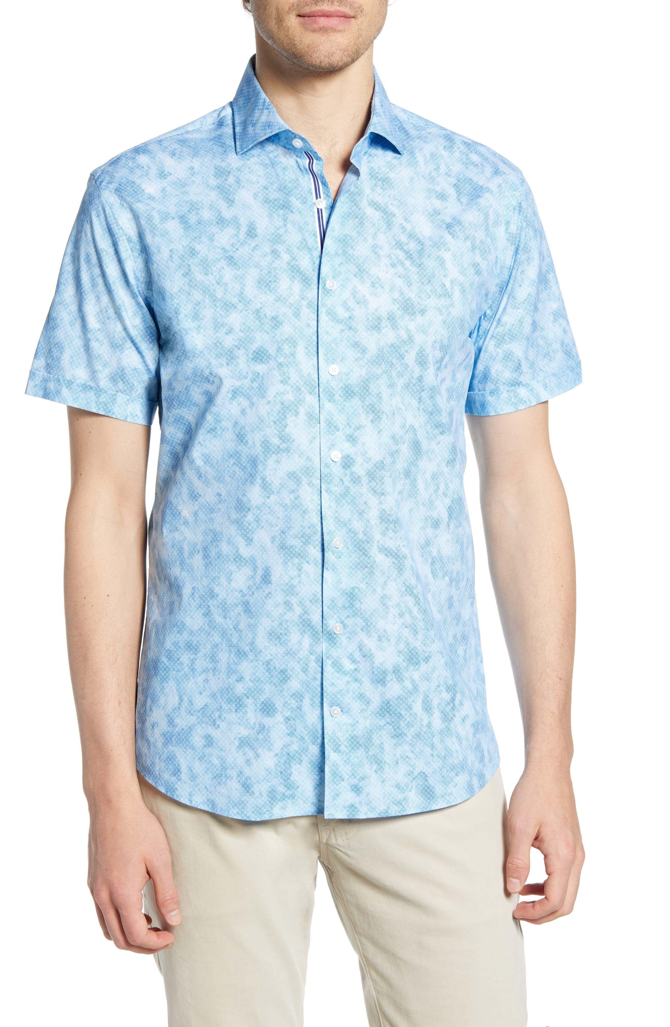 Kelly Hi-Flex Modern Fit Short Sleeve Button-Up Shirt