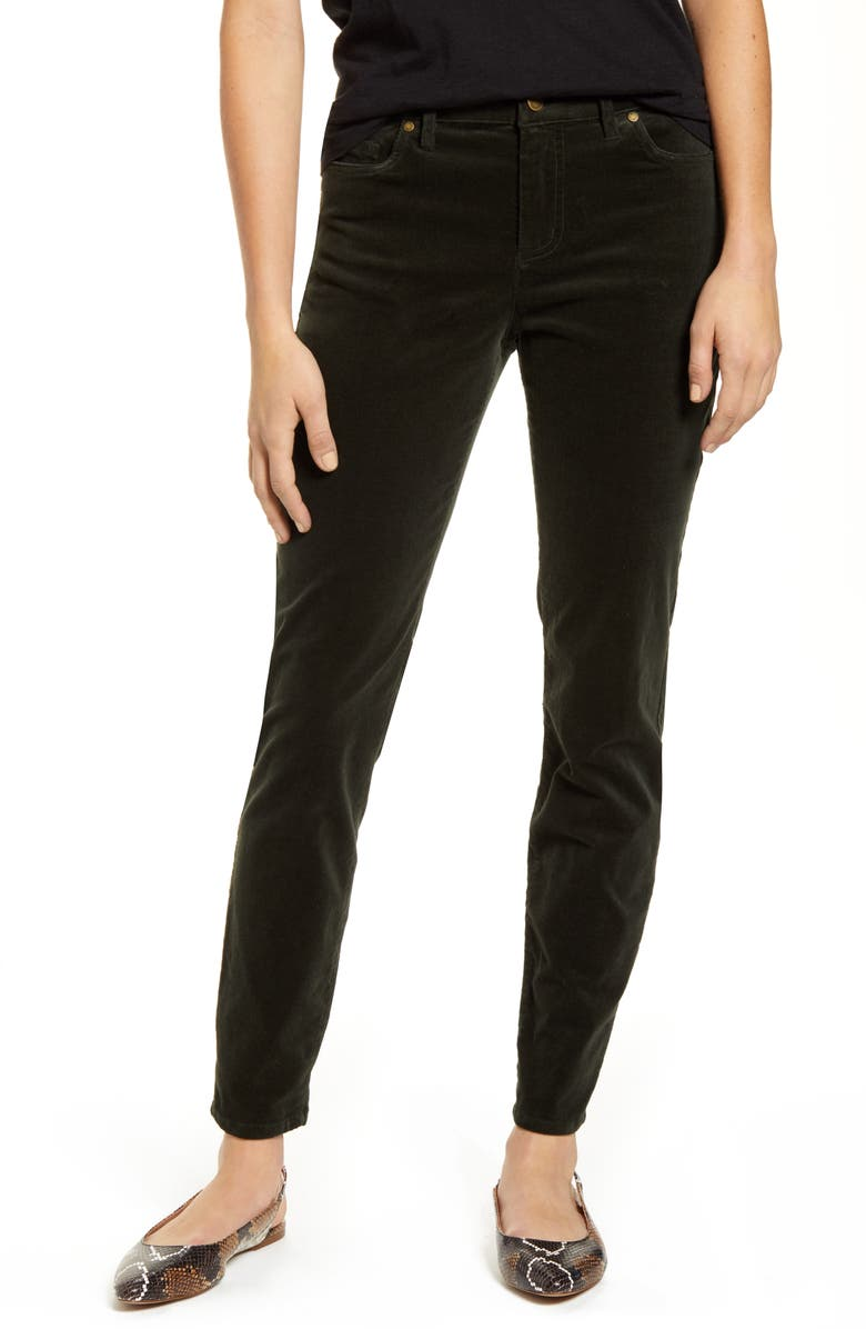 VINCE CAMUTO Washed Stretch Cotton Corduroy Skinny Pants, Main, color, DK WILLOW