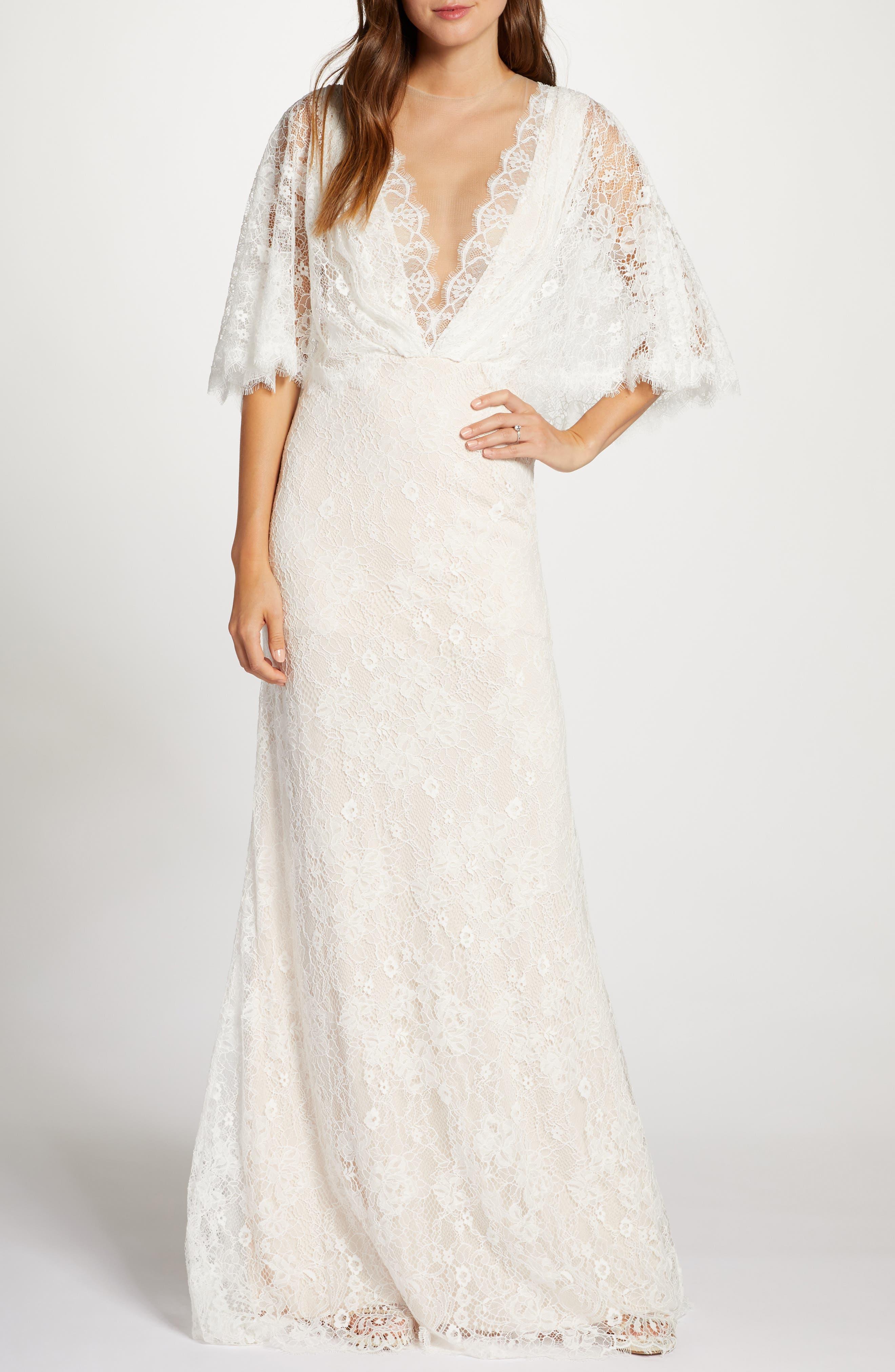 60s Wedding Dresses | 70s Wedding Dresses Womens Tadashi Shoji Capelet Lace Wedding Dress $748.00 AT vintagedancer.com