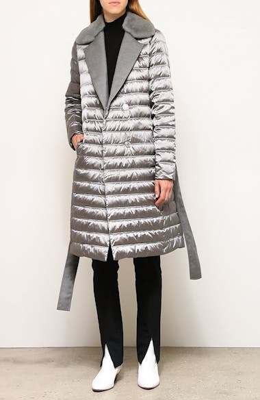 Dorma Quilted Down Coat with Genuine Mink Fur Trim, video thumbnail