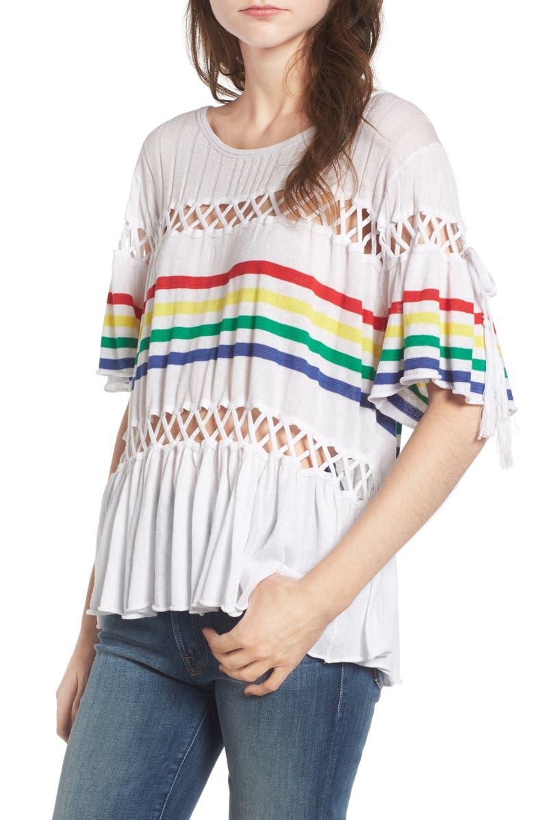 WILDFOX South Beach Stripe Sweater, Main, color, 100