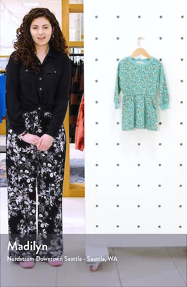 Floral Long Sleeve French Terry Dress, sales video thumbnail