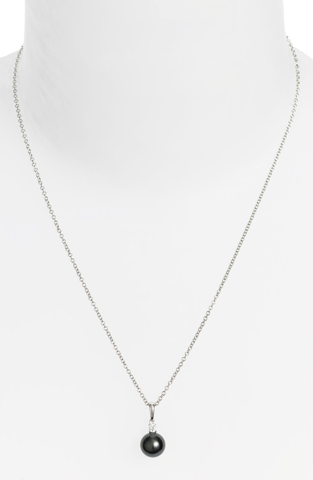 Diamond & Black South Sea Cultured Pearl Pendant Necklace