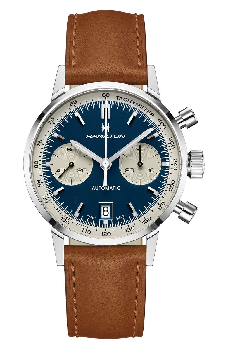 HAMILTON American Classic Automatic Chronograph Leather Strap Watch, 40mm, Main, color, BROWN/ BLUE/ SILVER