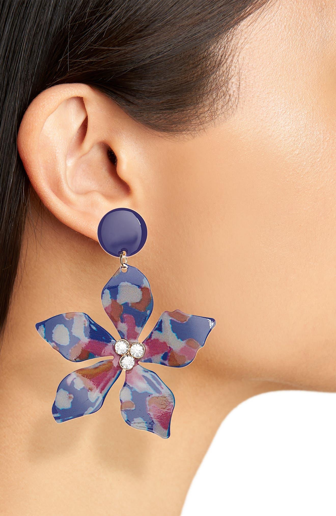 ,                             Flower Drop Earrings,                             Alternate thumbnail 2, color,                             BLUE MULTI- GOLD