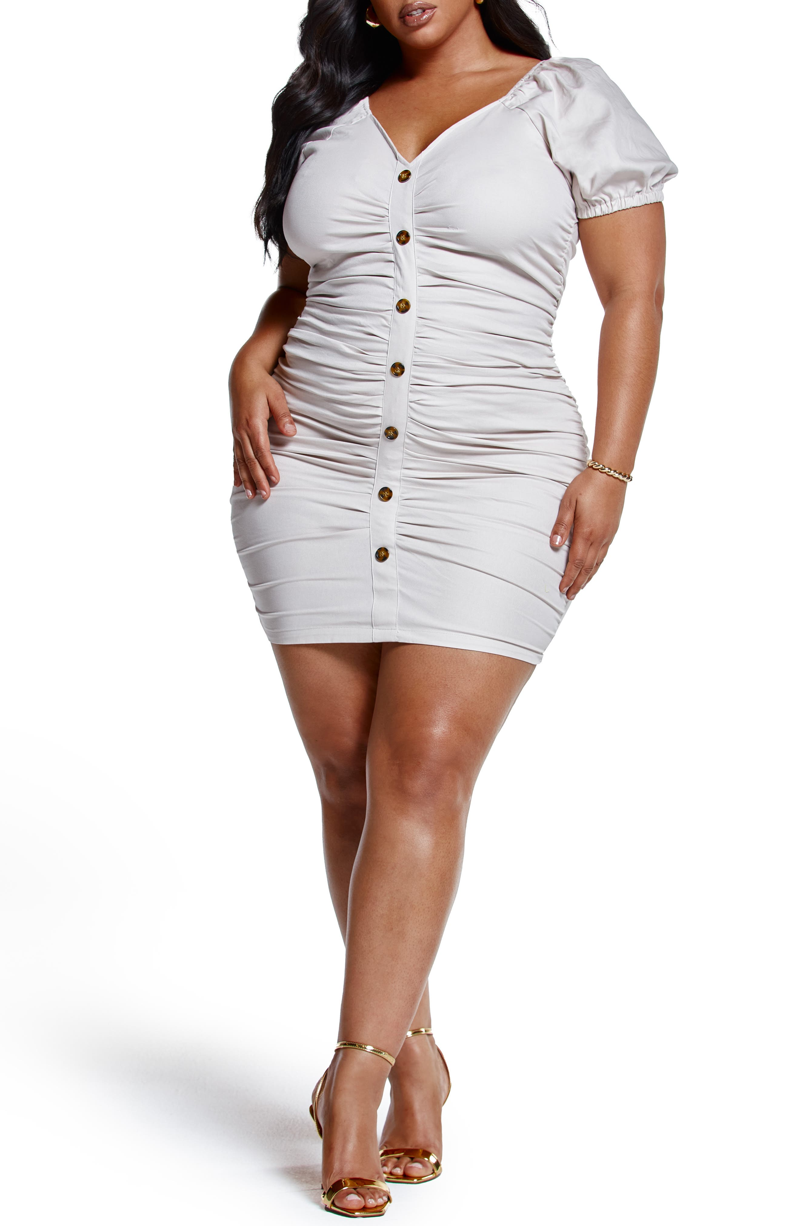 Ruched Puff Sleeve Dress