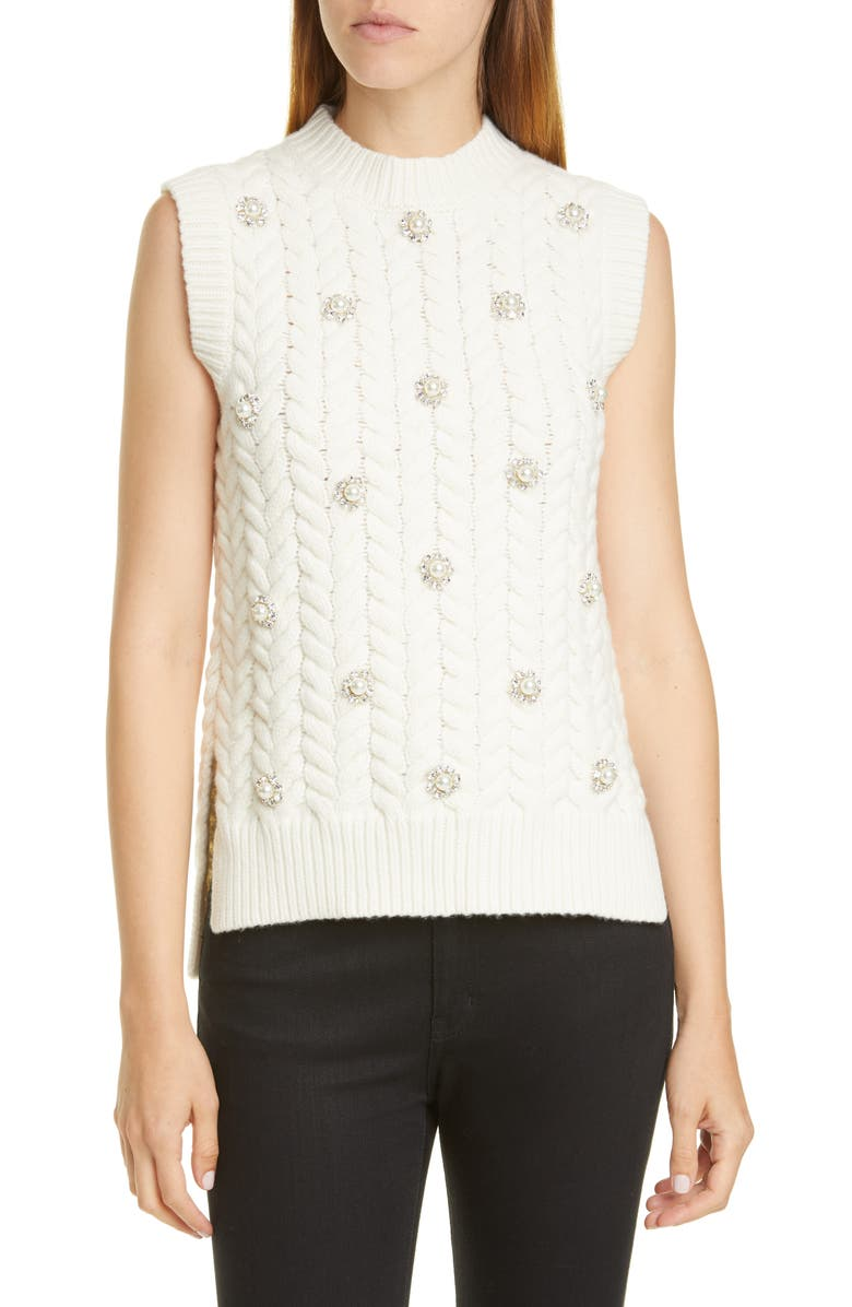 MONCLER GENIUS x 4 Simone Rocha Imitation Pearl & Crystal Cable Sweater, Main, color, WHITE