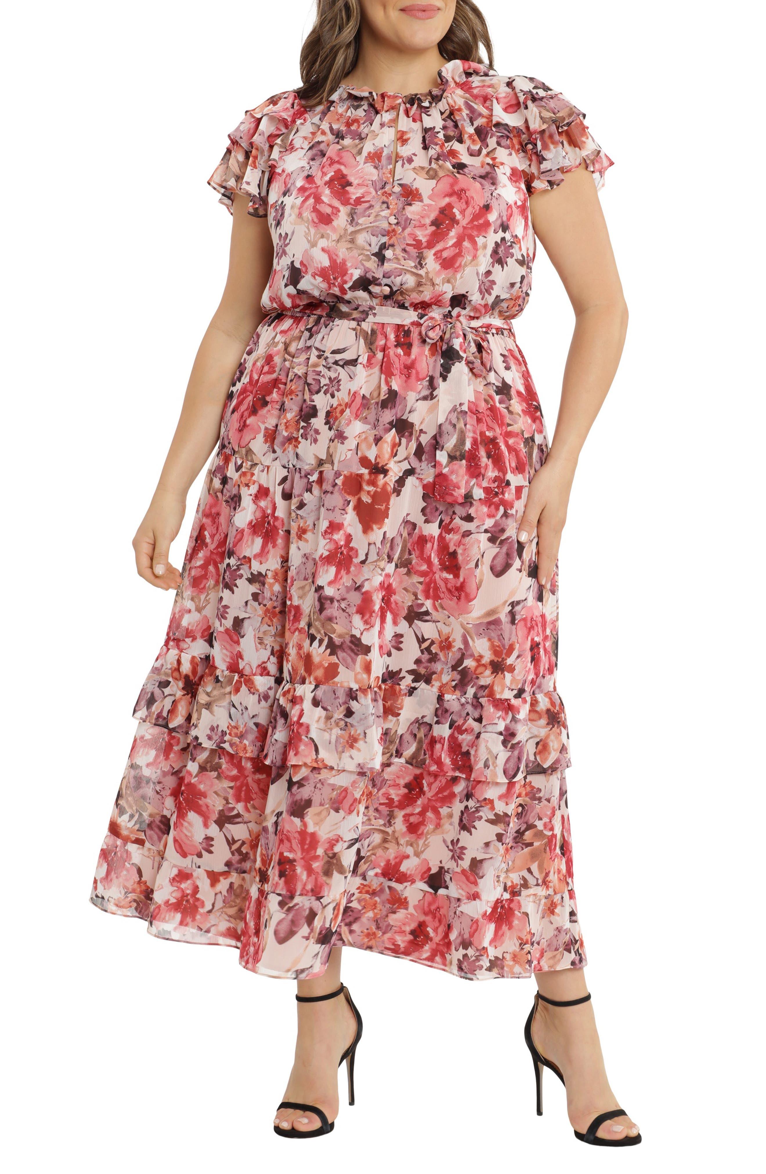 Ruffle Sleeve Tiered Maxi Dress