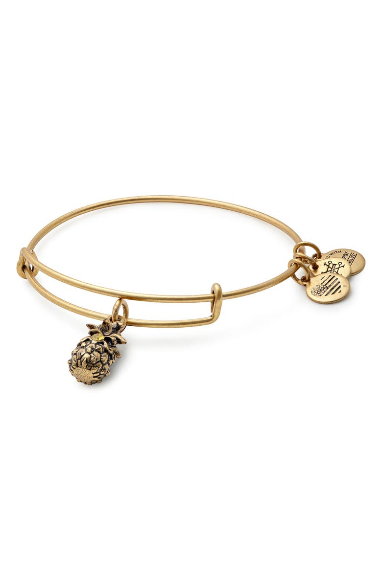 ALEX AND ANI Pineapple Adjustable Wire Bangle, Main, color, RUSSIAN GOLD