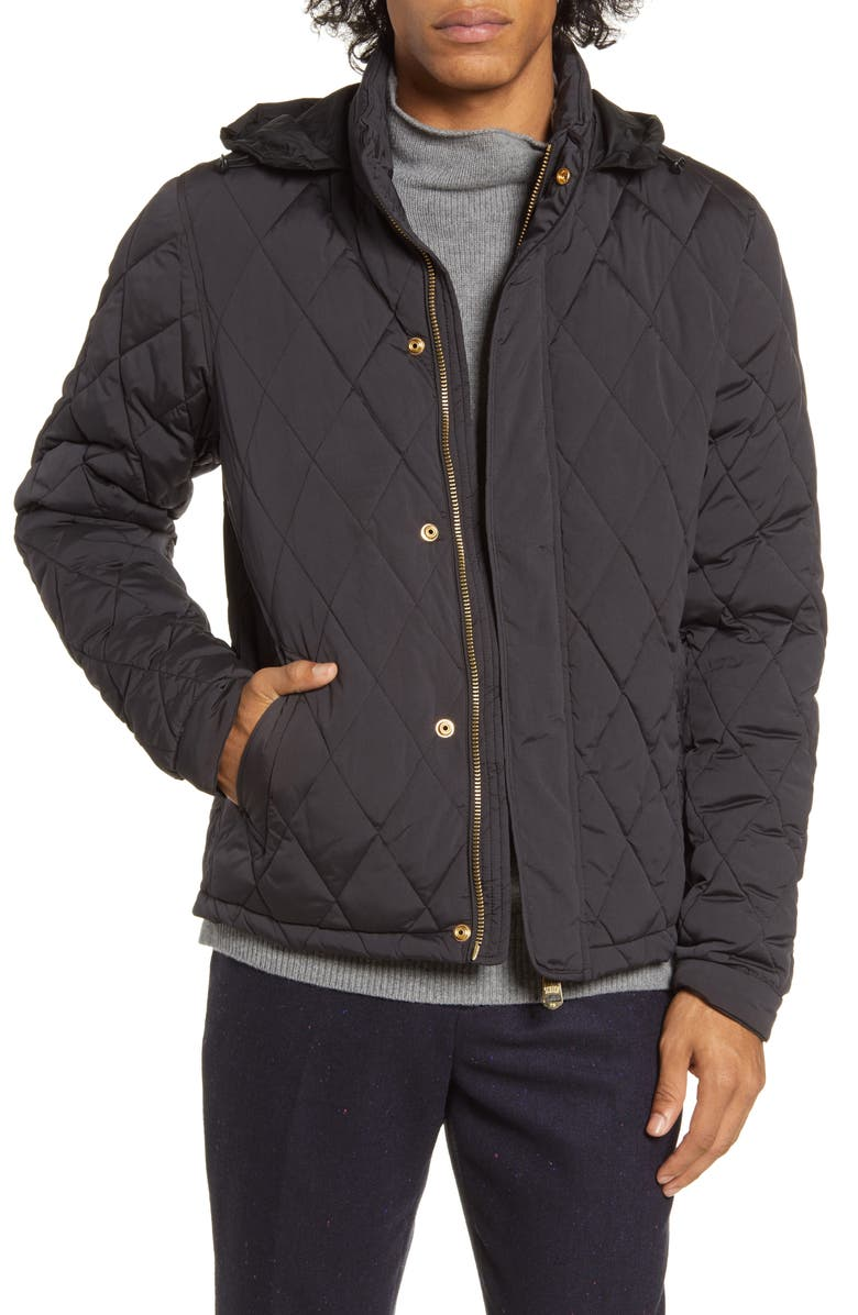 SCOTCH & SODA Hooded Lightweight Diamond Quilted Jacket, Main, color, BLACK