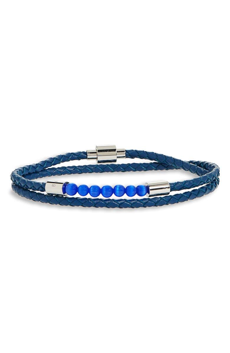 TED BAKER LONDON Beaded Braided Leather Wrap Bracelet, Main, color, 421