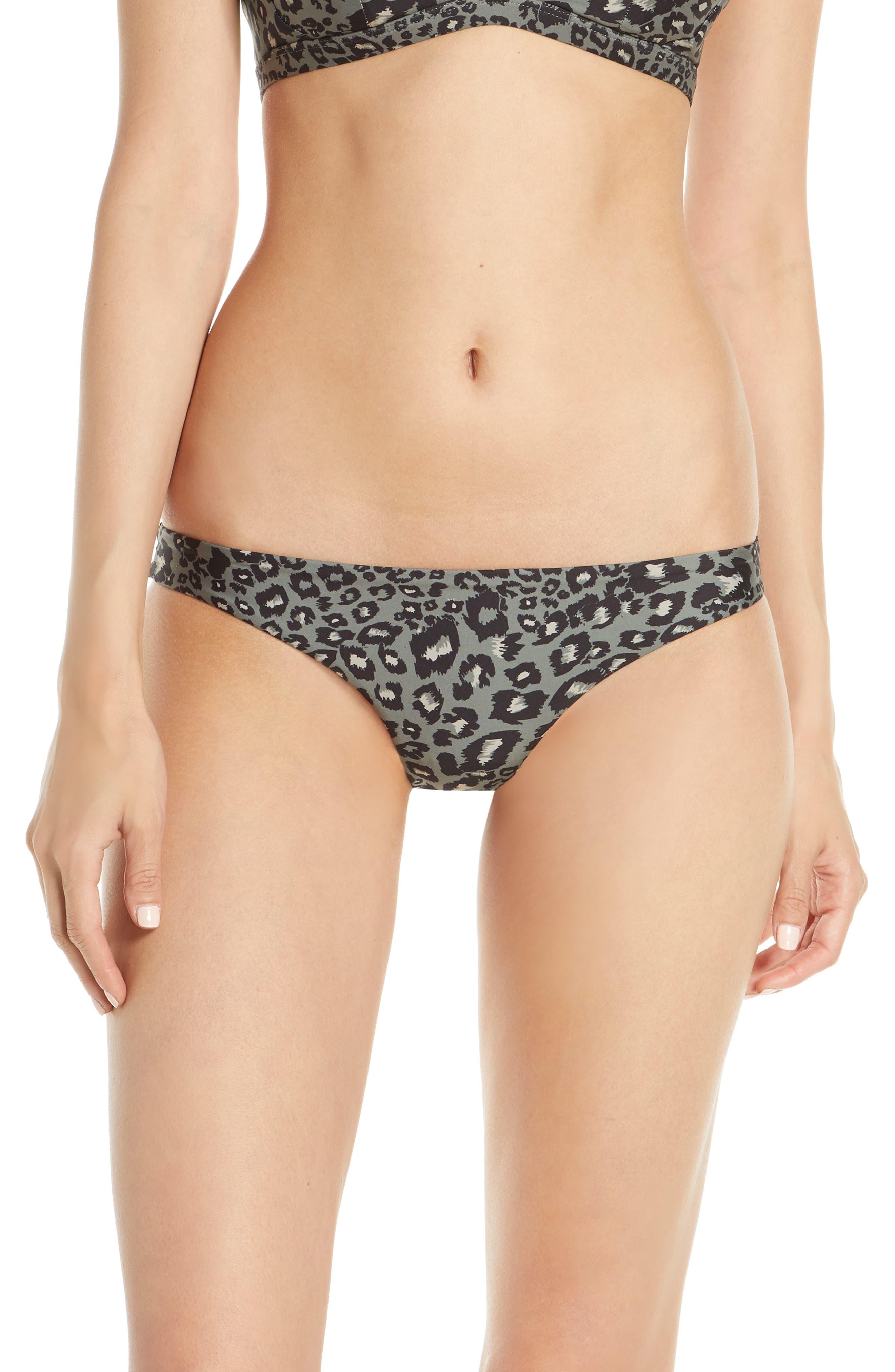 Hurley Quick Dry Leopard Surf Bikini Top, Grey
