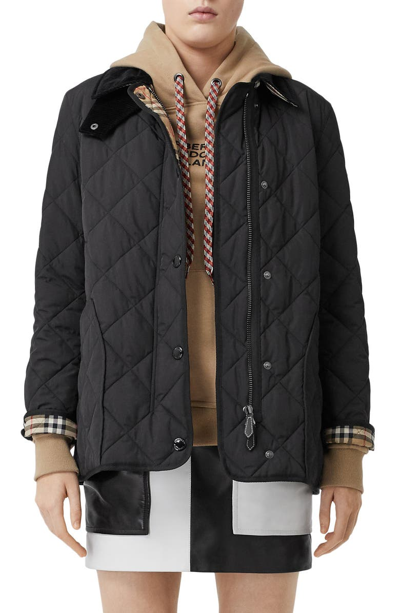 BURBERRY Cotswold Thermoregulated Quilted Barn Jacket, Main, color, BLACK