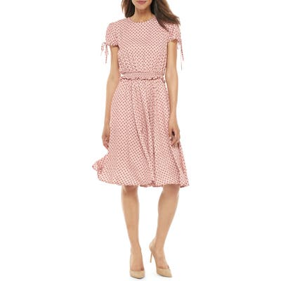 Petite Gal Meets Glam Collection Corinne Polka Dot Dress, Pink