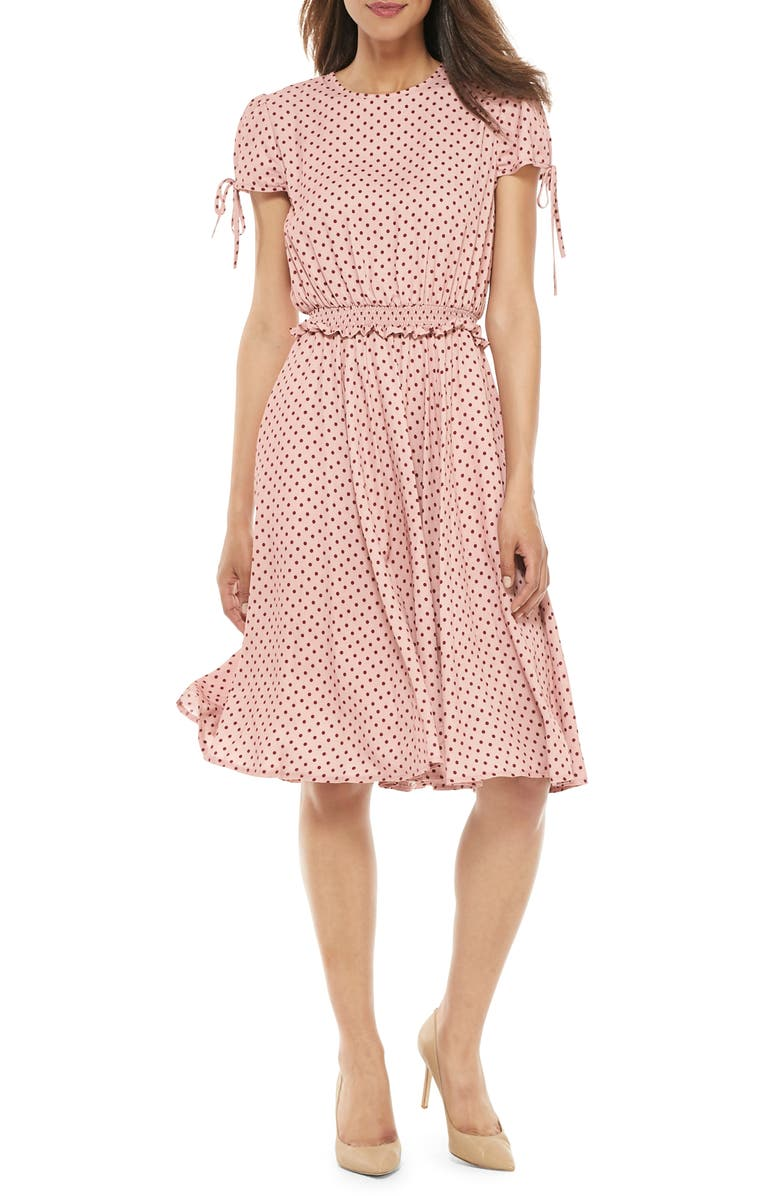 Corinne Polka Dot Dress, Main, color, MAUVE