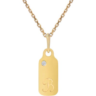 Mini Mini Jewels Diamond Accented Dog Tag Initial Pendant Necklace