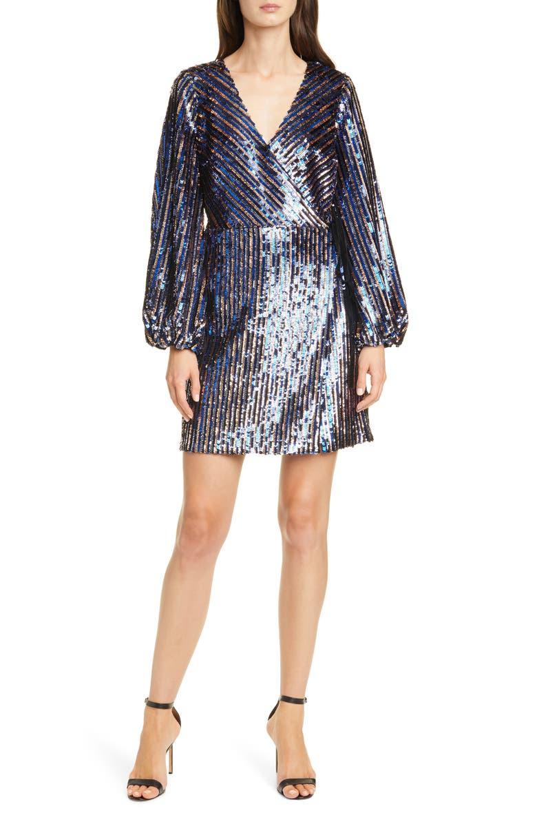 TANYA TAYLOR Tabitha Sequin Long Sleeve Wrap Dress, Main, color, BLUE