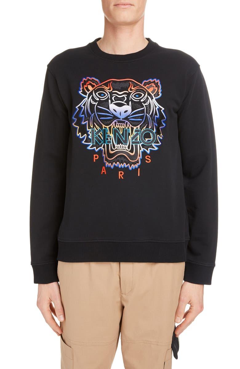 KENZO Embroidered Gradient Tiger Sweatshirt, Main, color, BLACK