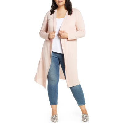 Plus Size Dantelle Long Cardigan, Pink