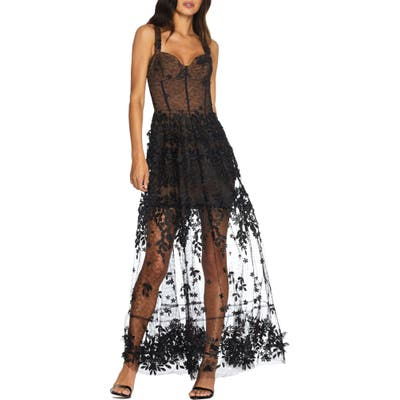Dress The Population Anabel Sweetheart Bustier Lace Gown, Black