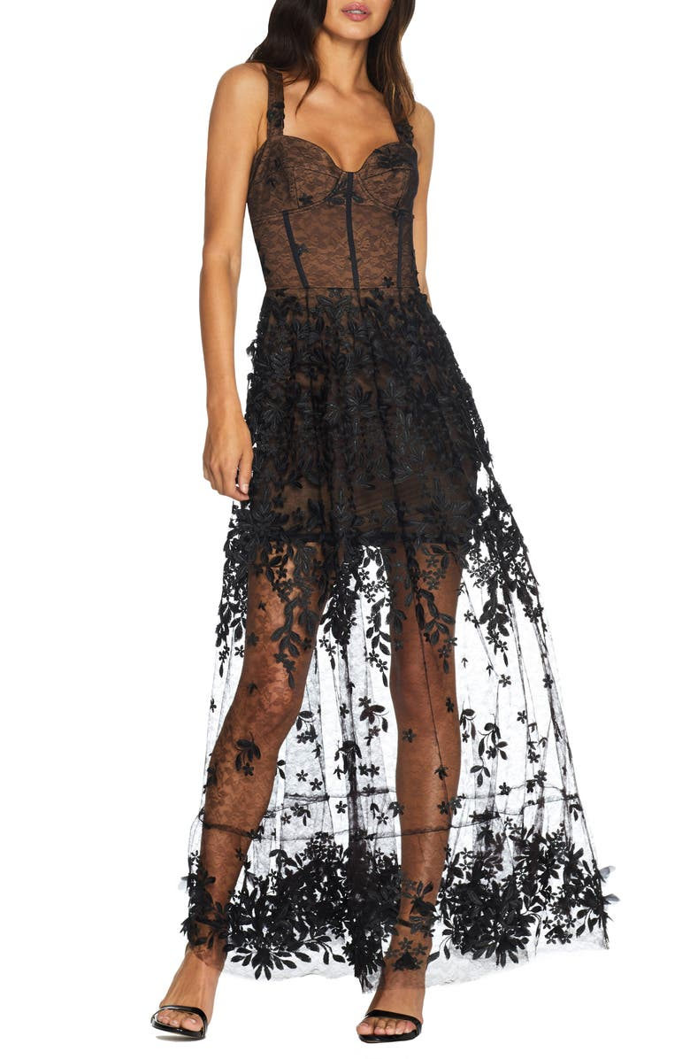 DRESS THE POPULATION Anabel Sweetheart Bustier Lace Gown, Main, color, BLACK-NUDE