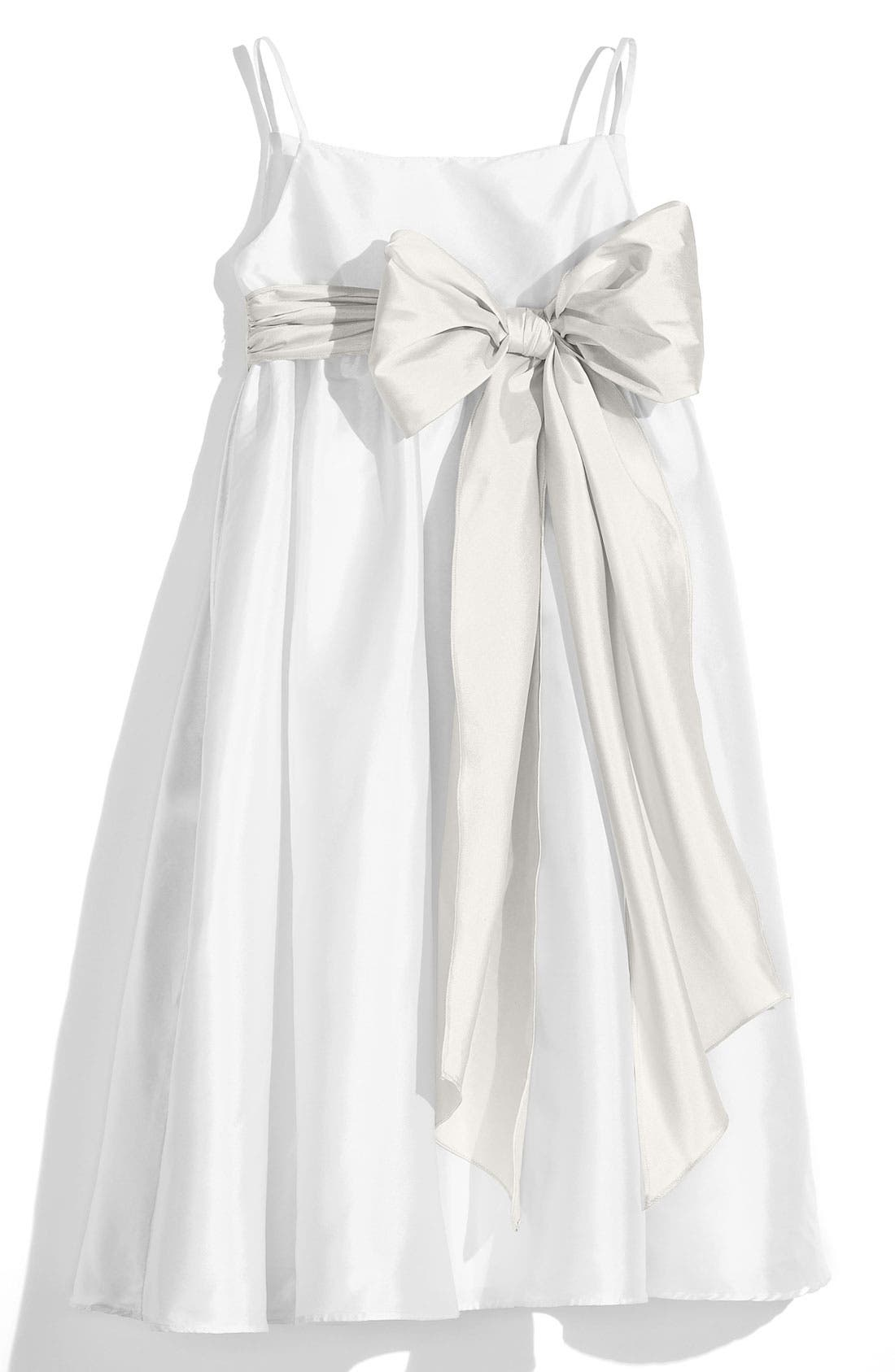 ,                             White Sleeveless Empire Waist Taffeta Dress,                             Main thumbnail 17, color,                             900
