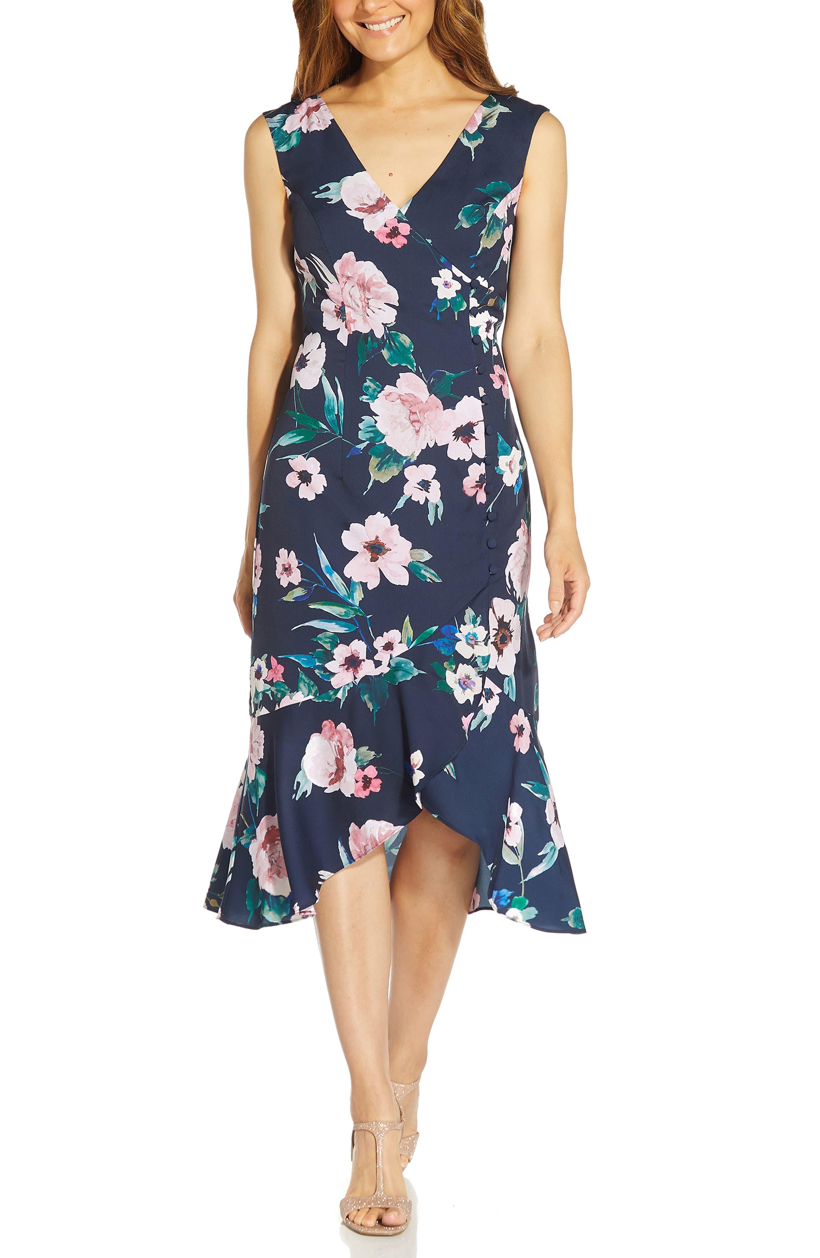 Floral Print Ruffle Midi Dress