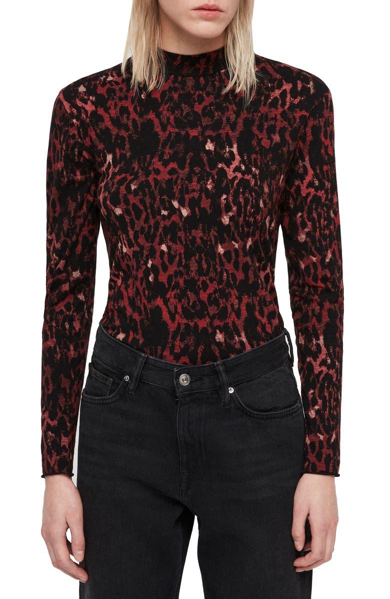 ALLSAINTS Leopard Red Kiara Shirt, Main, color, 001