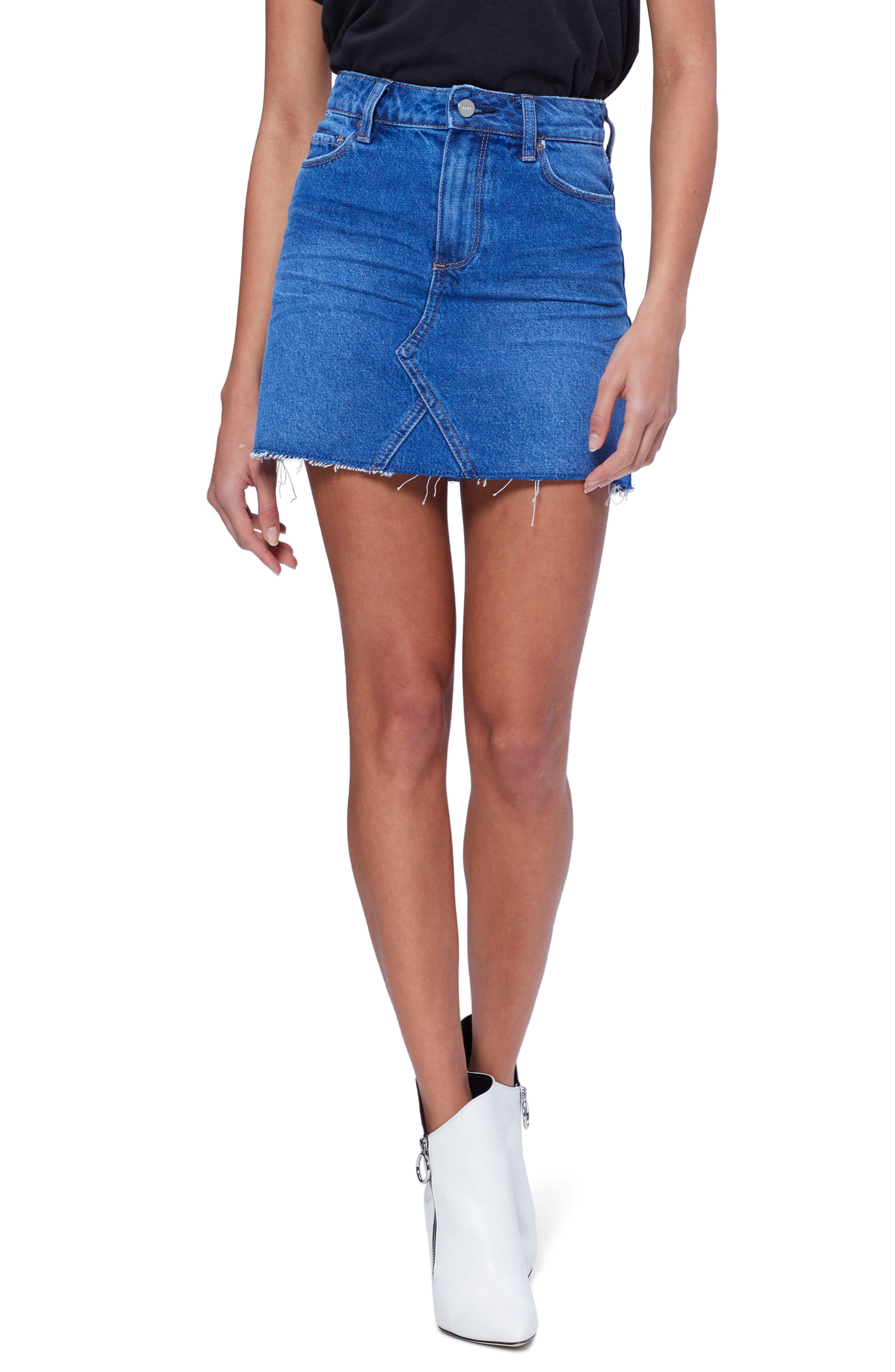 Image of PAIGE Aideen Raw Hem Denim Miniskirt