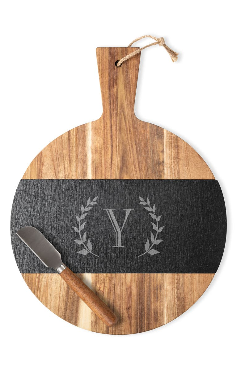 CATHY'S CONCEPTS Monogram Slate & Acacia Wood Serving Board & Cheese Knife, Main, color, Y