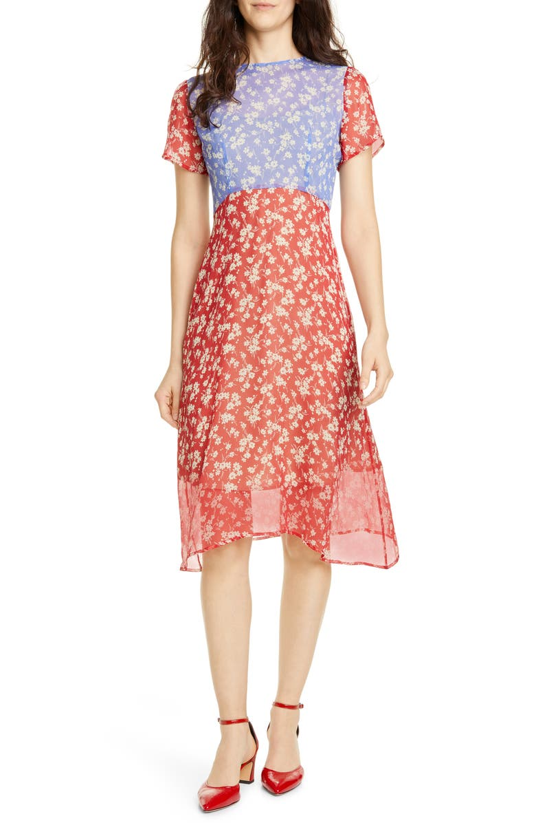 HVN Lindy Floral Silk Chiffon Dress, Main, color, COMBO WILDFLOWER